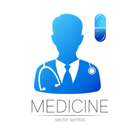 Doctor and capsule pill icon in blue color. Silhouette medical man. 일러스트