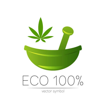 Green cannabis herbal bowl Concept symbol for medical, clinic, pharmacy business or shop. Nature marijuana design with leaf element.