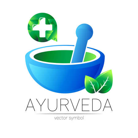 Ayurvedic Creative symbol. Mortar and pestle concept for ayurveda, business, medicine, therapy, pharmacy. 스톡 콘텐츠 - 151997731