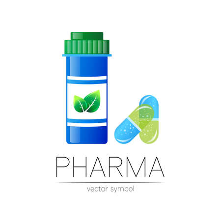 Pharmacy symbol with blue pill bottle and capsule tablet for pharmacist, pharma store, doctor and medicine. 일러스트