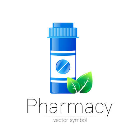 Pharmacy symbol with blue pill bottle and tablet, leaf for pharmacist, pharma store, doctor and medicine. 일러스트
