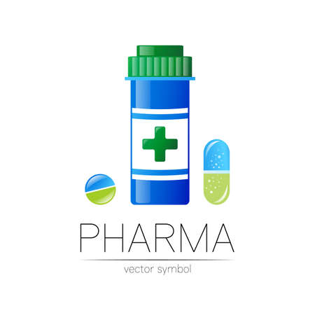 Pharmacy symbol with blue pill bottle and tablet for pharmacist, pharma store, doctor and medicine. 스톡 콘텐츠 - 151997732
