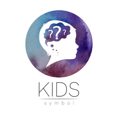 Child logotype with brain and question in violet watercolor brush circle vector. Silhouette profile human head. Concept logo for people, children, autism, kids, clinic, education. Template design 스톡 콘텐츠 - 152062817