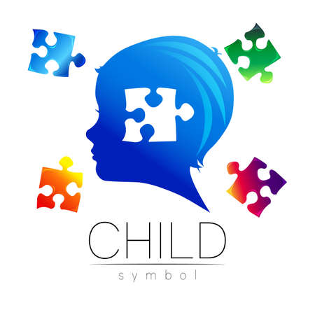 Child blue logotype with few puzzle in vector. Silhouette profile human head. Concept logo for people, children, autism, kids, therapy, clinic, education. Template symbol, modern design on white