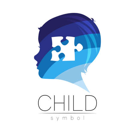 Child logotype with puzzle in few blue colors, vector. Silhouette profile human head. Concept logo for people, children, autism, kids, therapy, clinic, education. Template modern design on white 스톡 콘텐츠 - 152062819