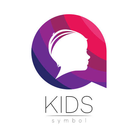 Child logotype in few violet circle colors, vector. Silhouette profile human head. Concept logo for people, children, autism, kids, therapy, clinic, education. Template symbol, modern design on white