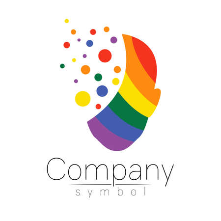 Vector slogotype ymbol of human head. Person face. Rainbow color isolated on white. Concept sign for LGBT, business, science, psychology, medicine, technology. Creative sign design Man silhouette logo 일러스트