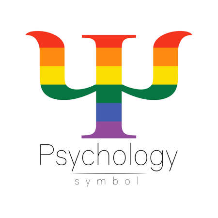 Vector psychology LGBTQA symbol. Pride flag background. Icon for gay, lesbian, bisexual, transsexual, queer and allies person. Can be use for sign activism or counseling. LGBT isolated on white.