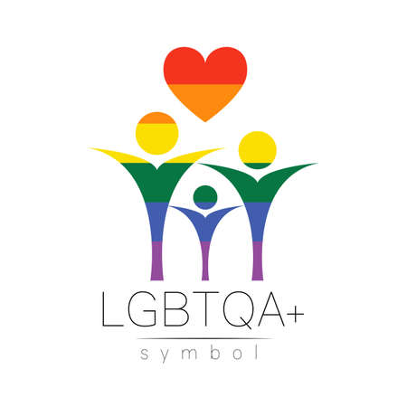 Vector LGBTQA family symbol. Pride flag background. Icon for gay, lesbian, bisexual, transsexual, queer and allies person. Can be use for sign activism, psychology or counseling. LGBT on white. 스톡 콘텐츠 - 152062827