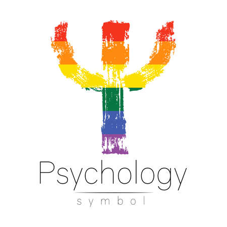 Modern logo of Psychology. Psi. Creative style. Logotype in vector. Design concept. Brand company. Rainbow color letter on white background. Symbol for web, print, card, LGBT. Brush flag 일러스트
