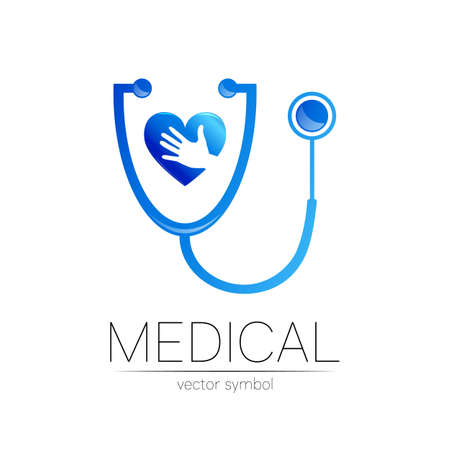 Stethoscope and heart with hand vector logotype in blue color. Medical symbol for doctor, clinic, hospital and diagnostic. Modern concept for logo or identity style. Sign of health. Isolated on white 일러스트