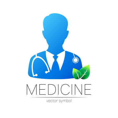 Doctor vector logotype in blue color with green leaf. Silhouette medical man. Logo for clinic, health, medicine, business. Concept on white. Template for web, identity modern style isolated on white