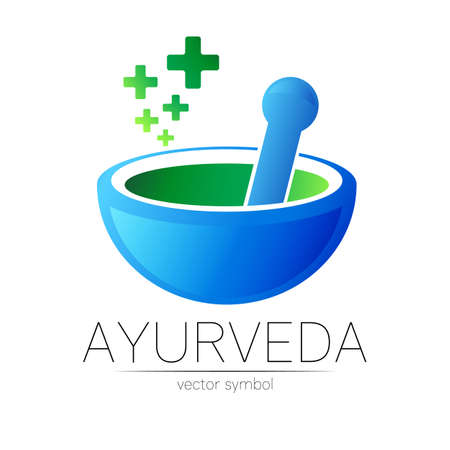 Ayurvedic Creative vector logotype or symbol. Mortar and pestle concept for business, medicine, therapy, pharmacy, ayurveda. Herbal Logo Design for label. Simple bowl and few cross.
