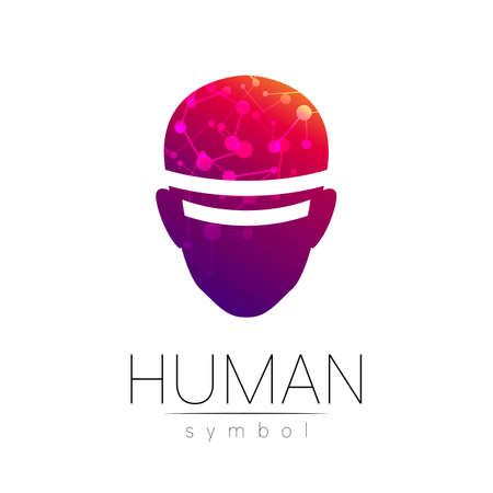 Vector symbol of human head. Person face. Red violet color isolated on white. Concept sign for business, science, psychology, medicine, technology. Creative VR sign design Man silhouette. Modern logo 스톡 콘텐츠 - 152062860