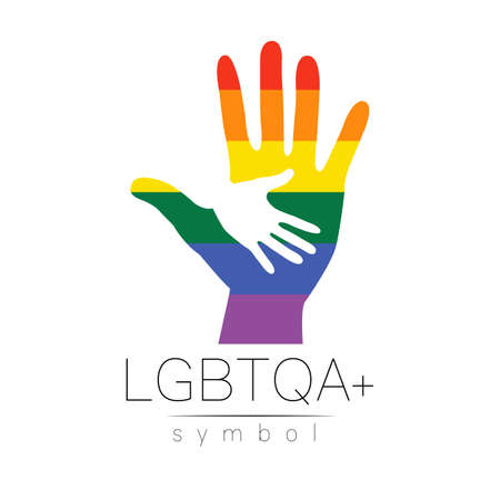 Vector LGBTQA logo symbol. Pride flag background. Icon for gay, lesbian, bisexual, transsexual, queer and allies person. Can be use for sign activism, psychology or counseling. LGBT logotype on white. Stockfoto - 152925179