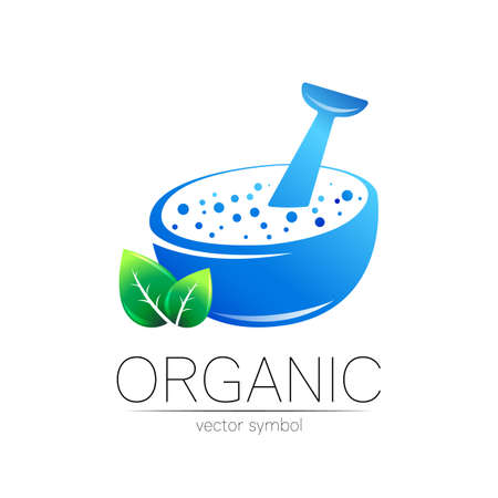 Organic vector symbol in blue and green color. Concept logo for business. Herbal sign logotype for medicine, homeopathy, therapy and pharmacy. Emblem with mortar and pestle isolated on white .