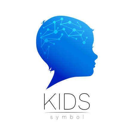 Child blue logotype in vector with brain. Silhouette profile human head. Stock Illustratie