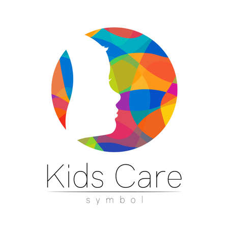 Child logotype in rainbow circle colors, vector.
