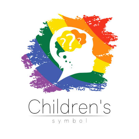 Child logotype with brain and question in rainbow brush vector.