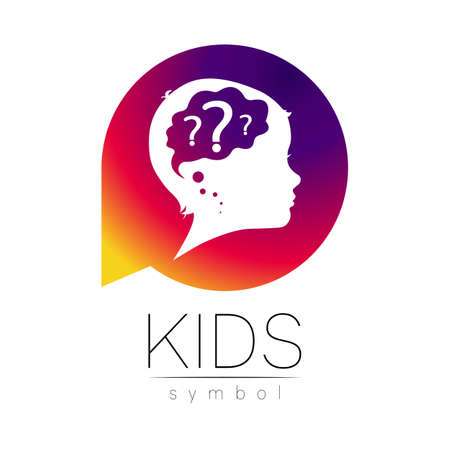 Child logotype with brain and question in violet circle vector. Silhouette profile human head.