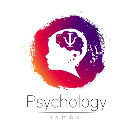 Modern logotype head with question inside brain .