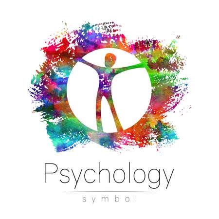 Modern man logo Sign of Psychology. Stock Photo
