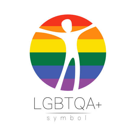 Vector LGBTQA logo symbol. Pride flag background. Stockfoto - 153128187