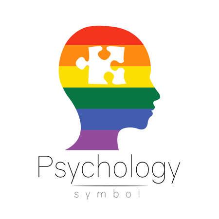Modern logo head sign of Psychology.