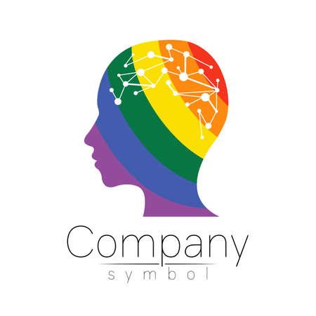 Vector logotype symbol of human head.