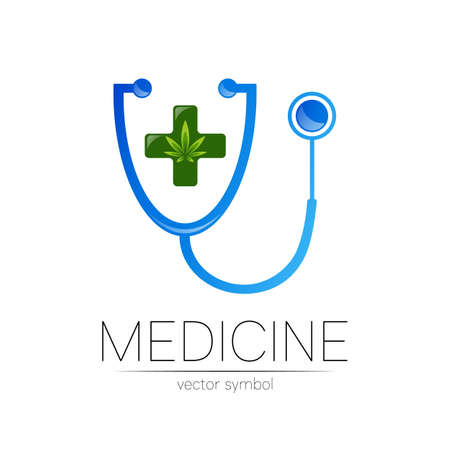 Stethoscope, cannabis vector logotype in blue color.