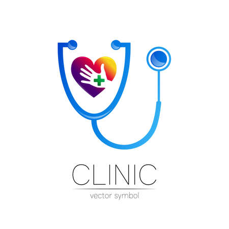 Stethoscope and heart with human hand vector logotype in blue color.