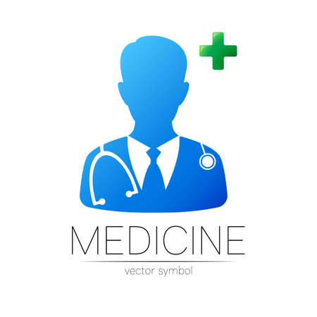 Doctor with cross vector logotype in blue and green color.