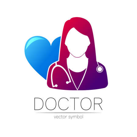 Female doctor with big blue heart vector logotype.