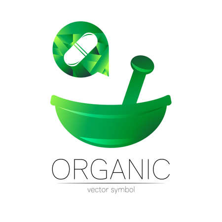 Green herbal bowl vector logotype with capsule pill. Stock Illustratie
