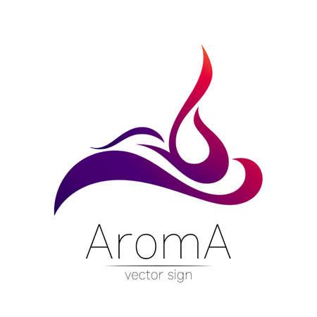 Aroma vector logo symbol in creative style. Illustration