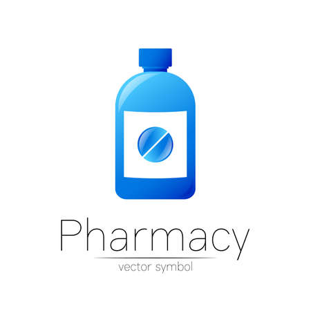 Pharmacy vector symbol with blue bottle and pill tablet for pharmacist, pharma store, doctor and medicine.