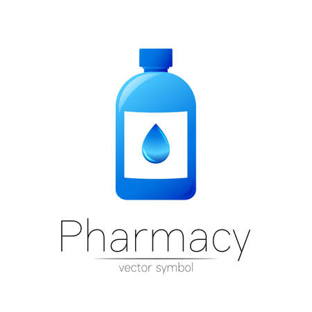 Pharmacy vector symbol with blue bottle and drop for pharmacist, pharma store, doctor and medicine.
