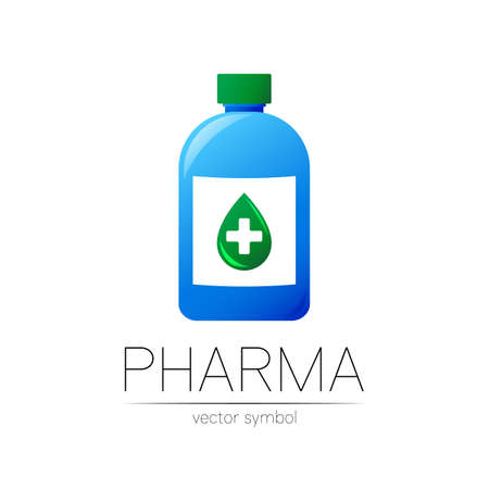 Pharmacy vector symbol with blue bottle and green drop with cross for pharmacist, pharma store, doctor and medicine. Stock Illustratie