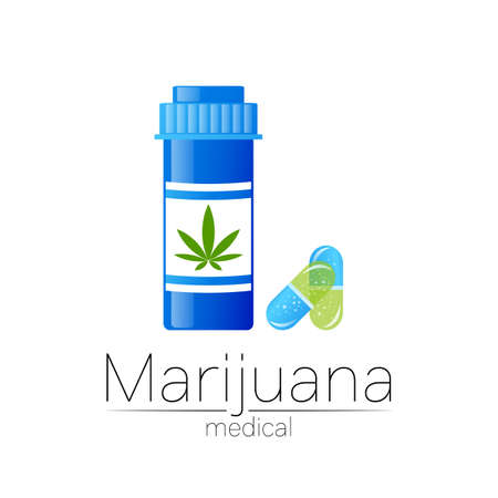 Cannabis vector  for medicine and doctor. Medical marijuana symbol with pill bottle and capsule. Pharmaceuticals with plant and leaf for health. Concept sign of green herb. Stock Illustratie