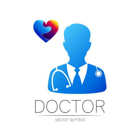 Doctor cardiologist and heart vector  in blue, violet color. Silhouette medical man.  for clinic, hospital, cardiology, medicine and business. Concept isolated on white. Template for web