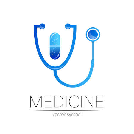 Stethoscope vector in blue color. Medical symbol for doctor, clinic, hospital and diagnostic. Modern concept for identity style. Sign of health. Isolated on white background.