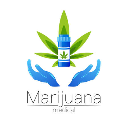 Medical cannabis symbol in vector. for marijuana, nature herbal medicine, therapy, doctors and store, business. Isolated on white. Blue and green color. Icon with human hands