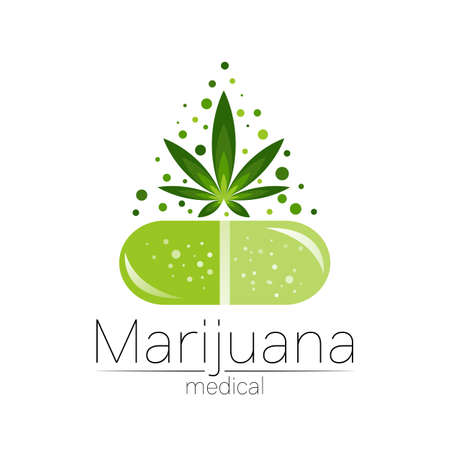 Medical cannabis symbol in vector. for marijuana, nature herbal medicine, therapy, doctors and store, business. Isolated on white background. Green color. Big capsule