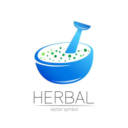 Vector mortar and pestle blue symbol. Herbal icon concept for medicine, vegetarian, therapy, pharmacology and business. Organic sign illustration. Modern ecology label.