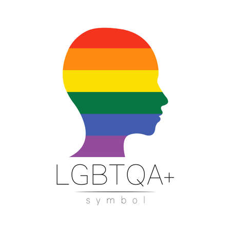 Vector LGBTQA symbol. Pride flag background. Icon for gay, lesbian, bisexual, transsexual, queer and allies person. Can be use for sign activism, psychology or counseling. LGBT on white.