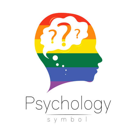 Modern head with question inside brain . sign of Psychology. Profile Human. Creative style. Symbol in vector. Design concept. Rainbow color isolated on white. Icon for web. LGBT flag Illustration