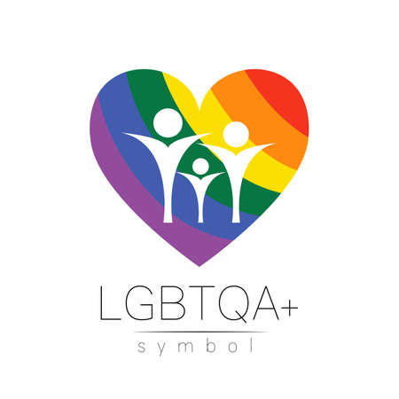 Vector LGBTQA family symbol. Pride flag background. Icon for gay, lesbian, bisexual, transsexual, queer and allies person. Can be use for sign activism, psychology or counseling. LGBT on white. Stock Illustratie