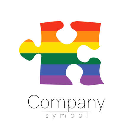 Modern  vector silhouette puzzle .  isolated on white background. Rainbow bright colors. Unusual cool symbol. Concept design for web, clinic, school, education, LGBT. Creative Illustration