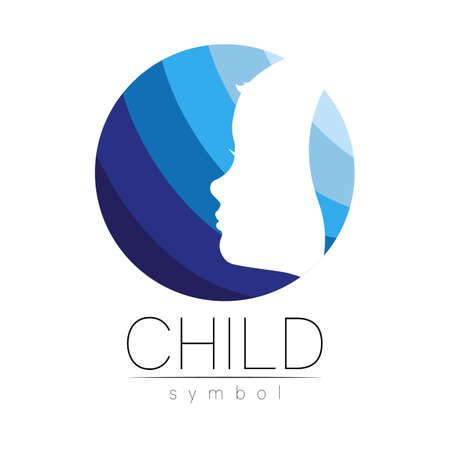 Child  in few blue circle colors, vector. Silhouette profile human head. Concept  for people, children, autism, kids, therapy, clinic, education. Template symbol, modern design on white Stock Illustratie
