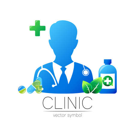 Doctor and tablet pill, leaf, bottle and cross vector  in blue, green color. Silhouette medical man.  for clinic, hospital, health, medicine, business. Template for web, identity style